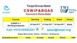 schedule for cswip 3 1 welding inspector course in doha qatar on