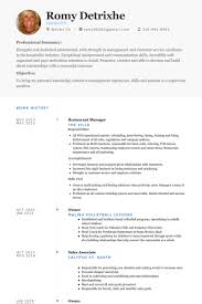 Resume Samples For Hospitality Industry by Restaurant Manager Resume Samples Visualcv Resume Samples Database