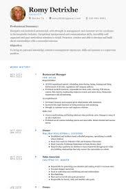 Sample Objective In Resume For Hotel And Restaurant Management by Restaurant Manager Resume Samples Visualcv Resume Samples Database