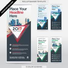 city background business roll up flag banner design template set