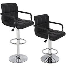 Bar Stool With Back And Arms Amazon Com Bar Stools Leather Set Of 2 With Armrest Black