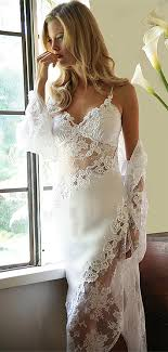 peignoir sets bridal beautiful white satin with all bridal lace gown and