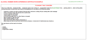 Certification Letter For Name Change Alcohol Rubber Work Experience Certificate