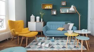 Retro Swivel Armchair Cool Retro Living Room Yellow Swivel Armchair Blue Sofa Arranged