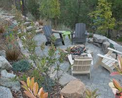 Landscape Fire Pits by Sloped Backyard Design Stone Retaining Wall Fire Pit Landscape