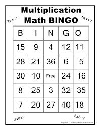 multiplication math bingo game http www kidscanhavefun com