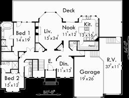 customizable floor plans custom ranch house plan w daylight basement and rv garage