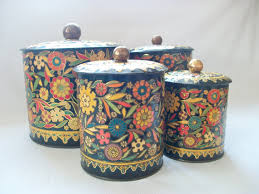Black Floral Tin Cans Vintage Daher Round Metal Decorative