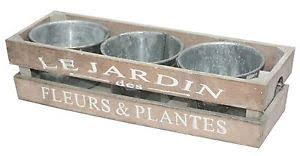 Shabby Chic Planters by Set Of 3 Metal Plant Pots Planters Crate Wooden Herb Trough