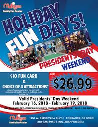 presidents weekend holiday fun days mulligan torrance