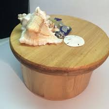 mermaid treasure box handcrafted round wooden box with texas sea