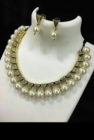 necklace set white images New white perl necklace set size neck length rs 399 set id jpeg