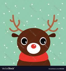 christmas deer christmas deer on snowing background vector image