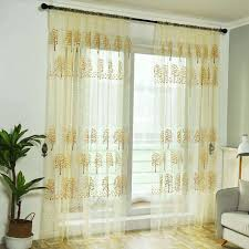 wearing rods maple leaf money tree printing tulle window screen