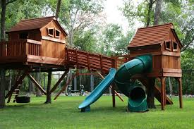 bridged wooden swing sets backyard fun factory
