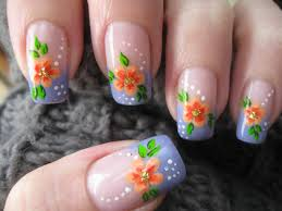 nail art french manicure with flower youtube