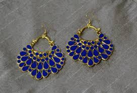 blue earrings tbze0149 large ethnic earrings blue the bead zing