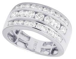 mens 14k white gold wedding bands men s 14k white gold real diamond three row channel wedding band