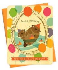 otter portrait birthday cards â wood birthday cards