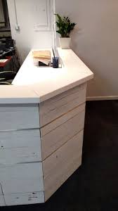 Reception Desk White by Hand Made White Washed Reclaimed Wood And Steel Reception Desk By