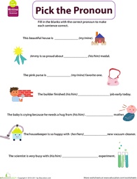 get into grammar pick the pronoun worksheet education com