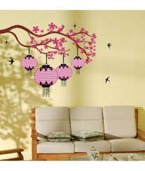 stickerskart wall stickers pink chinese lamps with branch 7085
