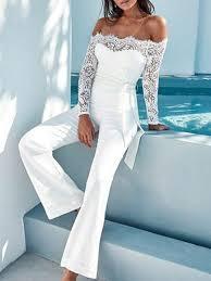 white jumpsuit shoulder contrast lace white jumpsuit queenfy