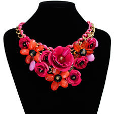 red big necklace images Lady vogue chain crystal flower statement bib big chunky necklace jpg
