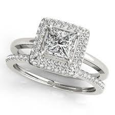 princess cut wedding set wedding set princess cut bezel set diamond halo engagement ring