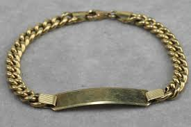 gold tag bracelet images 14 kt gold men 39 s bracelet with empty name tag 20 5 cm catawiki jpg