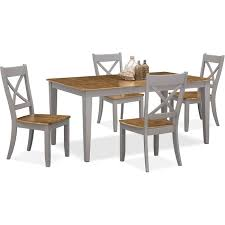 value city dining room furniture nantucket table and 4 x back chairs oak and gray value city