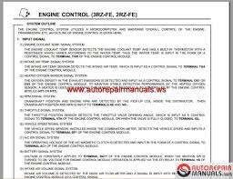 toyota engine 2rz fe 3rz fe ewd repair manual auto repair