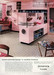 Linoleum Kitchen Flooring by White Brick Linoleum Floors For Your Pink Kitchen 1956 Click