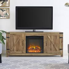 amazon com new 58 inch wide barn door fireplace tv stand