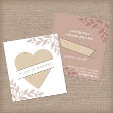 memorial service favors plantable heart memorial mini slot cards memorial cards