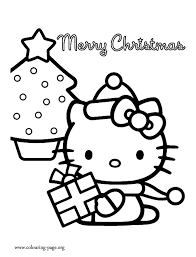 Christmas Hello Kitty And A Christmas Tree Coloring Page Hello Tree Coloring Page