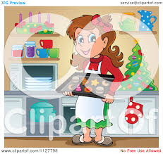 cartoon of a happy brunette woman baking christmas cookies