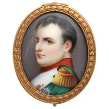 Gilt Bonze Enameled Portrait Antique Napoleon Iii Hp Portrait Miniature In Gilt Bronze