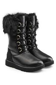 womens black leather boots australia aya waterproof leather boots with shearling insole ugg australia