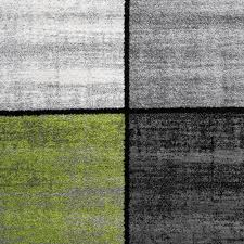 Wohnzimmer Schwarz Grun Designer Teppich Modern Kurzflor Karos Speziell Meliert Grau