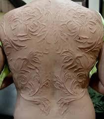 full back nice white ink scarification flower tattoo golfian com