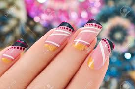 elegant nail design on a rectangular shape nails covered with