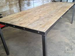 metal frame for table top industrial steel table with reclaimed and recycled oak top with