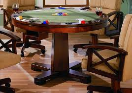 convertible oak dining game table bumper pool and poker with round
