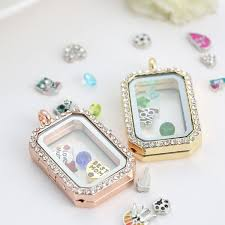 glass locket pendant necklace images Charm memory locket floating rectangle locket with diamonds of jpg