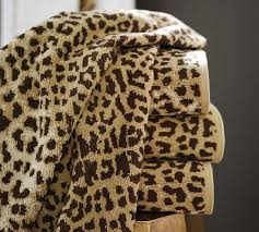 Cheetah Print Bathroom by Leopard Jacquard 600 Gram Weight Bath Towels Pottery Barn