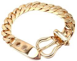 rose gold link bracelet images Hermes large buckle gold curb link chain bracelet at 1stdibs jpg