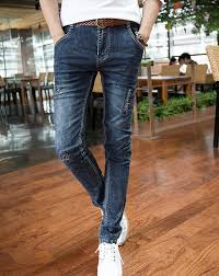 Skinny Jeans With Holes Fashion Skinny Jeans For Men Holes Slim Cut Mid Waist Long Top