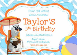 olaf frozen snowman summer birthday party invitation printable