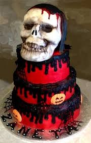 boys girls birthday cake halloween fondant skull butter cream